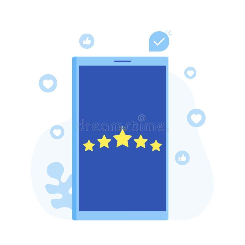 Bewertung, Feedback, kommentiert Konzept des Entwurfes Telefonschirm mit Sternen Moderne flache Artvektorillustration stock abbildung