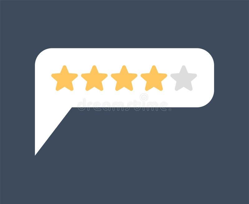 Bewertung 4 Feedback vier Sterne sprudeln Empfehlungen unterzeichnen Rückrufsymbol stock abbildung