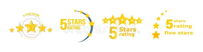 Bewertung mit 5 Sternen Gold Feedback, Berichte, Mitteilungen, wählend für das Sammeln von Statistiken lizenzfreie abbildung