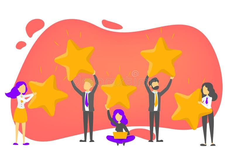 Bewertung und Kundenbericht Beste Wahl Positives Feed-back vektor abbildung