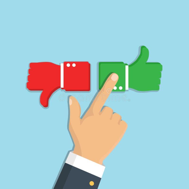 Bewertungs-Feedback Die Hand, die wie zeigt und lehnen ab, unterzeichnen Knopf VE lizenzfreie abbildung