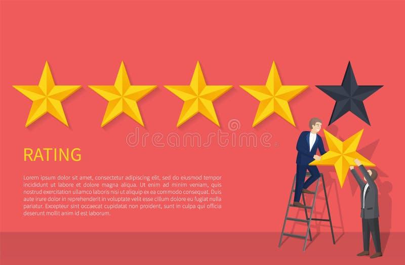 Bewertungs-Plakat Zwei-mann auf Leiter-hängendem fünftem Stern stock abbildung