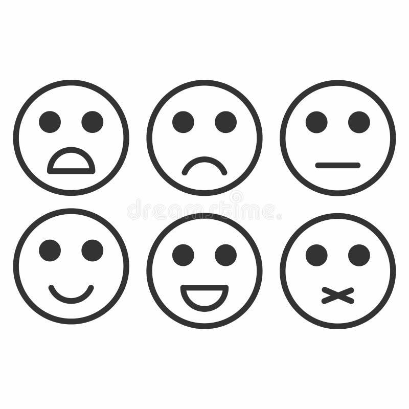 Bewertungs-Zufriedenheit Feedback in der Form von einfarbigen Gefühlen, smiley, emoji lizenzfreie abbildung