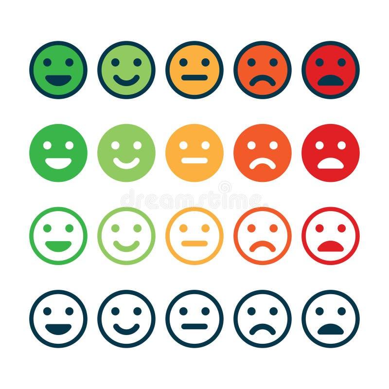 Bewertungs-Zufriedenheit Feedback in der Form von Gefühlen vektor abbildung