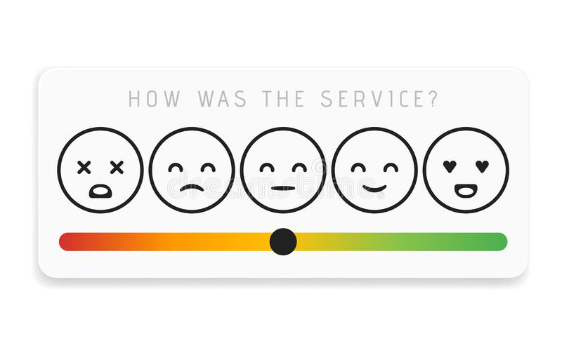 Bewertungs-Zufriedenheit Feedback in der Form von Gefühlen Ausgezeichneter, guter, normaler, schlechter schrecklicher Vektor vektor abbildung