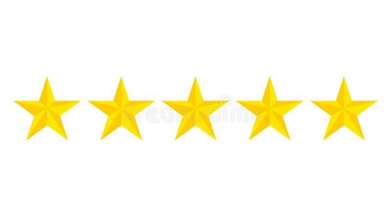 Bewertungsikone mit f?nf Sternen Bewertungshotel von 5 Goldsternen Flache gelbe Sterne auf lokalisiertem Hintergrund Vektor lizenzfreie abbildung