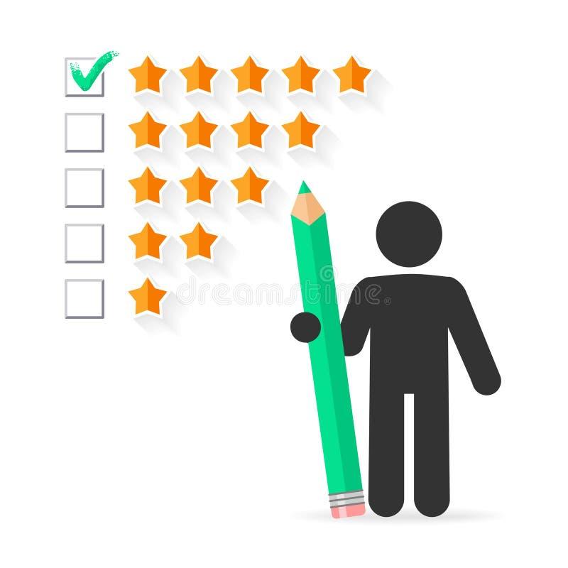 Bewertungskonzept mit fünf Sternen lizenzfreie abbildung