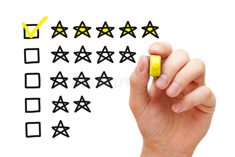 Bewertungskonzept mit fünf Sternen stockfotografie
