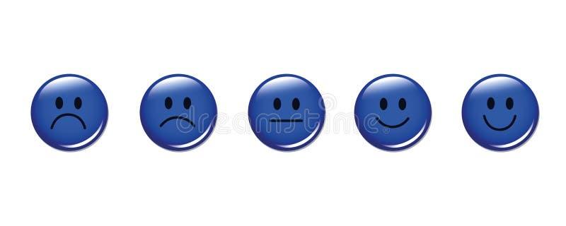 Bewertungssmiley stellt ringsum Blau gegenüber stock abbildung