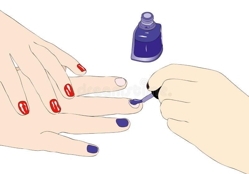Bewijs van nagellak in een schoonheidssalon royalty-vrije illustratie