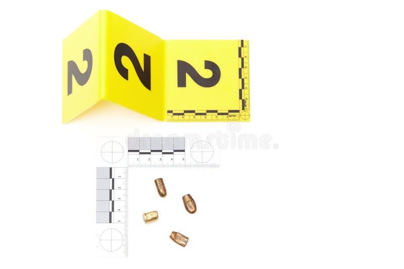 Bewijsmateriaal van verscheidene kogels van misdaadscène stock afbeelding