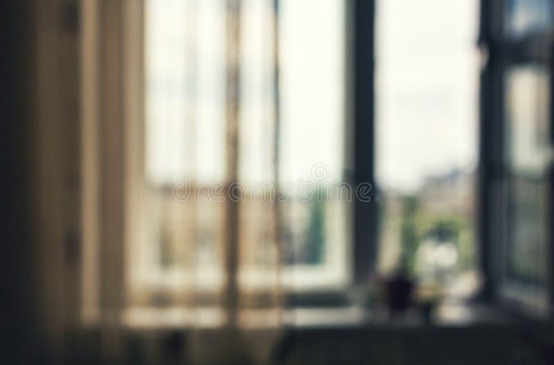 Bewirken Sie seitlichen 50mm Nikkor Raum, ein Fenster Ansicht der Stadt Büro, Stadtansichthintergrund lizenzfreies stockbild