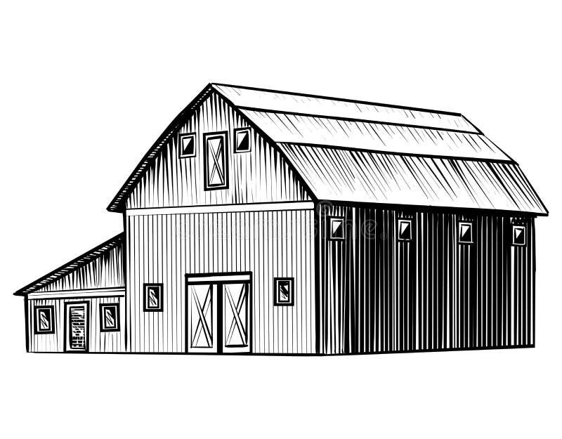 Bewirtschaften Sie die Scheune, die auf weiße Skizzen-Artillustration des Hintergrundes Hand gezeichneter lokalisiert wird vektor abbildung