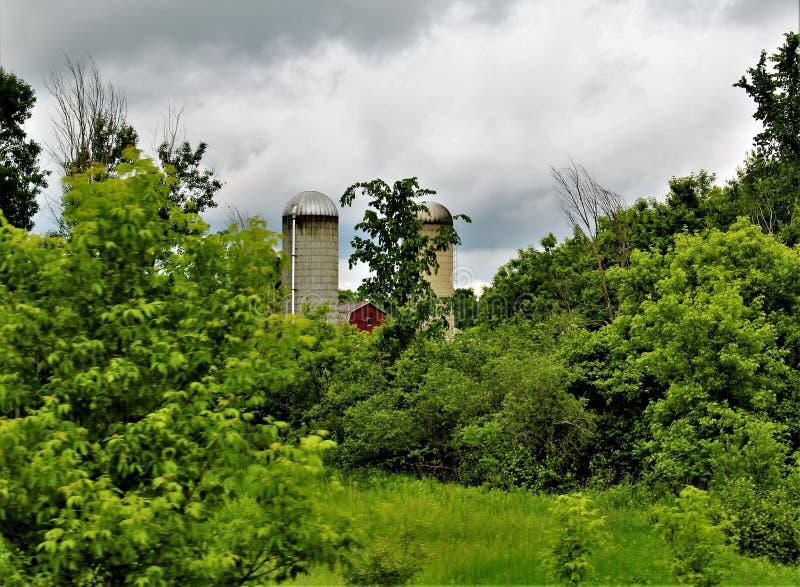 Bewirtschaften Sie die Silos, die in Franklin County, im Hinterland New York, Vereinigte Staaten gelegen sind lizenzfreie stockbilder
