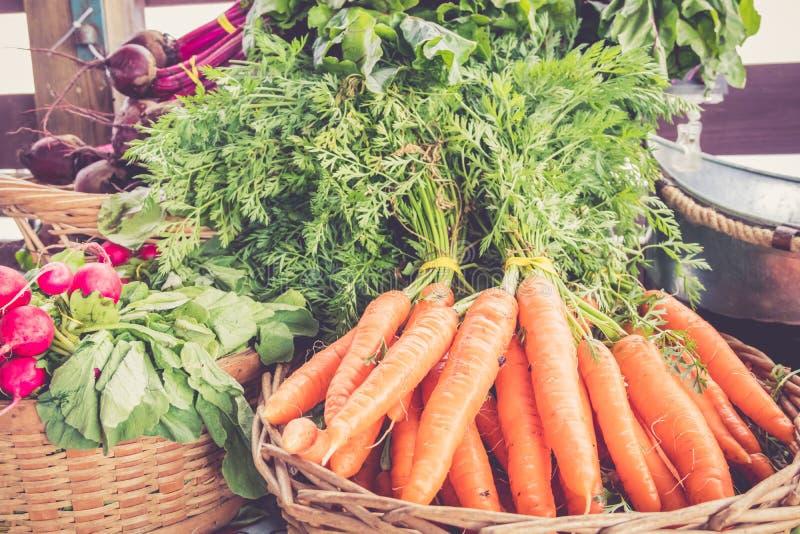 Bewirtschaften Sie frische Karotten und Gemüse auf Anzeige am Landwirtmarkterntefest lizenzfreie stockbilder