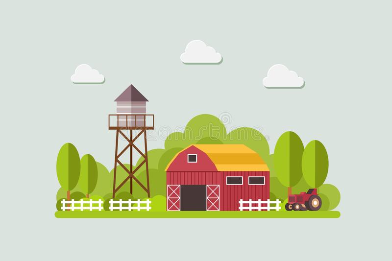 Bewirtschaften Sie mit Wasserbehälter und Traktor, Landlandschaft, modische flache Artvektor-Designschablone lizenzfreie abbildung