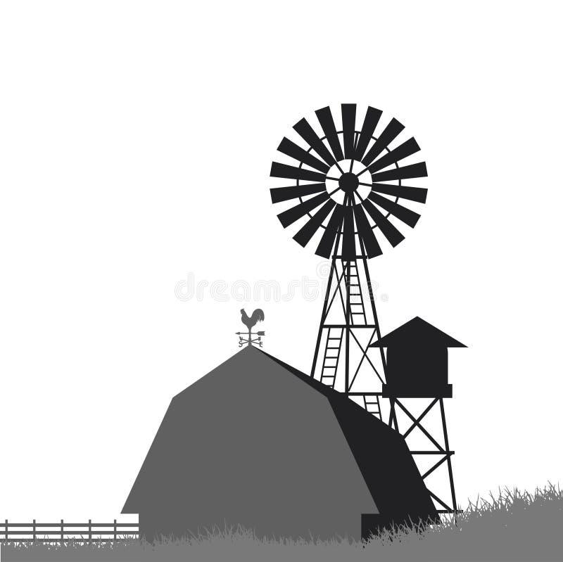 Bewirtschaften Sie Windmühle, Scheune, Zaun, Haus stock abbildung