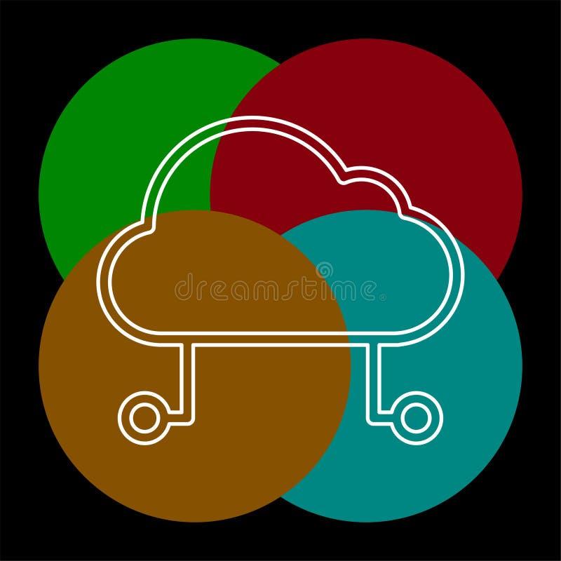 Bewirtung der Wolkenikone, Komputertechnologie der Wolke lizenzfreie abbildung