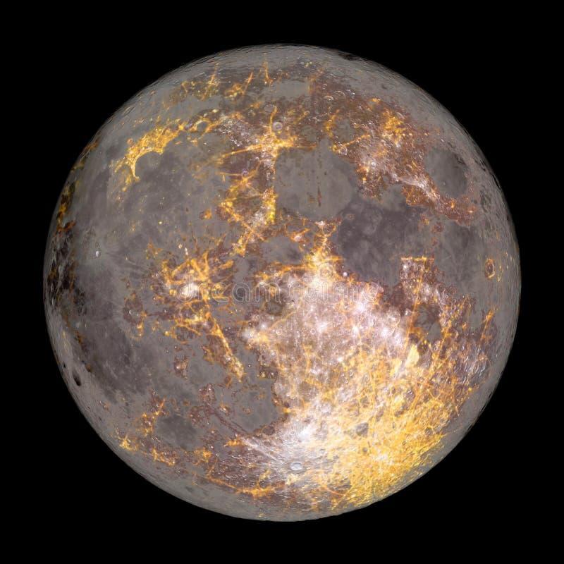 Bewohnbarer Mond nachts mit den Stadtlichtern lokalisiert stockbild