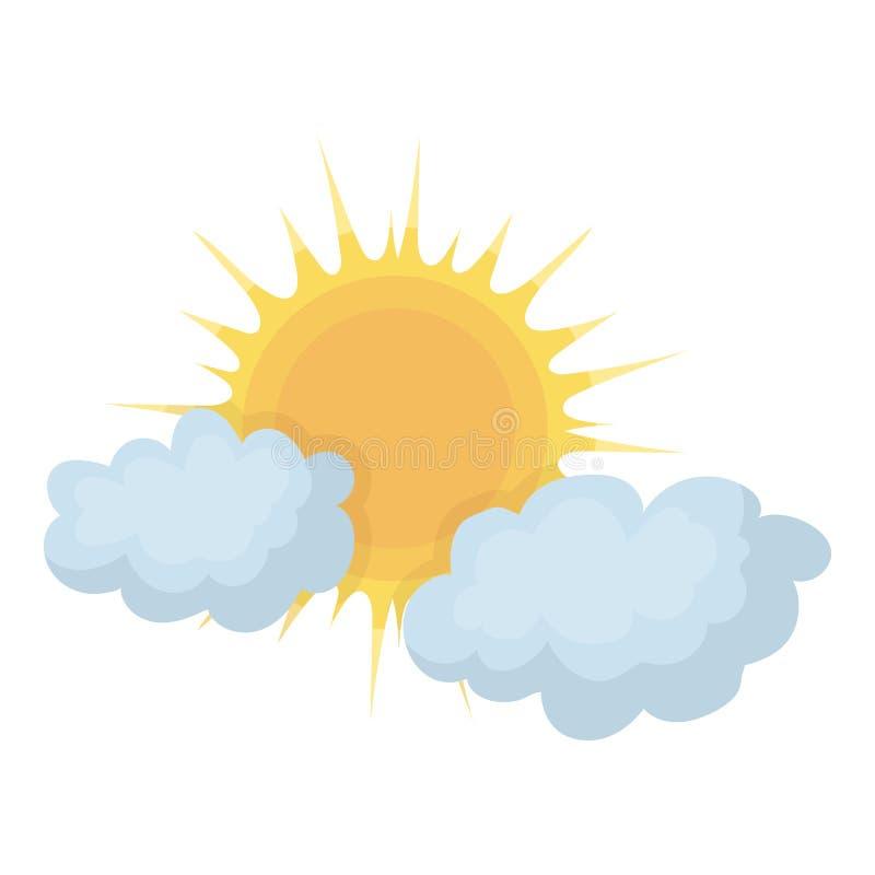Bewolkt die weerpictogram in beeldverhaalstijl op witte achtergrond wordt geïsoleerd De voorraad vectorillustratie van het weersy stock illustratie