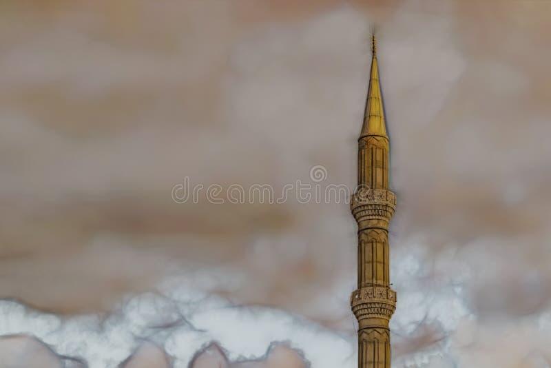 Bewolkt weer en minaret van de moskee vector illustratie