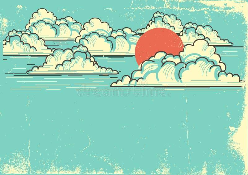 Bewolkte blauwe hemelachtergrond met rode zon Vectoraardillustrati royalty-vrije illustratie