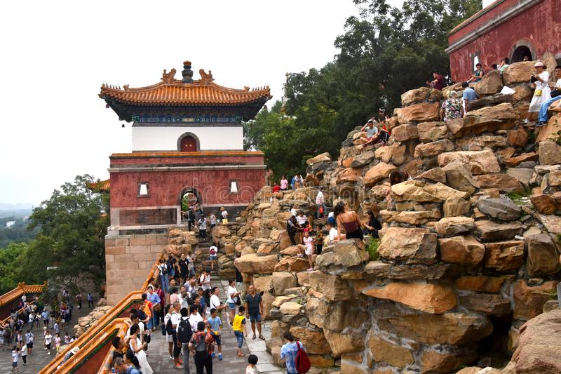 Bewolkte Dag bij de Zomerpaleis, Peking, China stock foto's