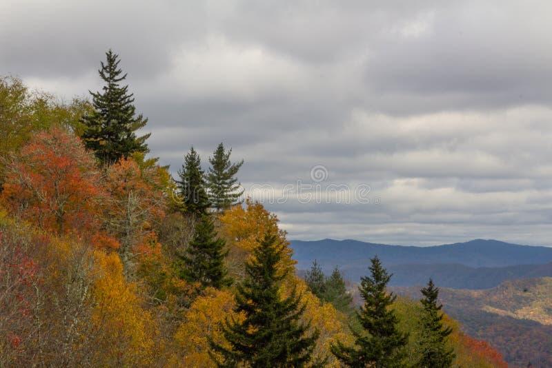 Bewolkte dag met mening van Blauwe Rand, evergreens en de herfstbladeren op voorgrondhelling stock fotografie