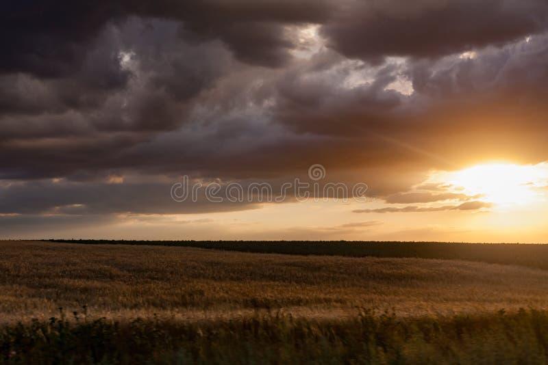 Bewolkte en winderige zonsondergang royalty-vrije stock foto's
