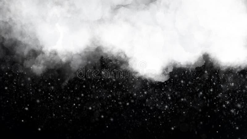 Bewolkte hemel met de dalende achtergrond van de sneeuwvlokkenwinter stock illustratie