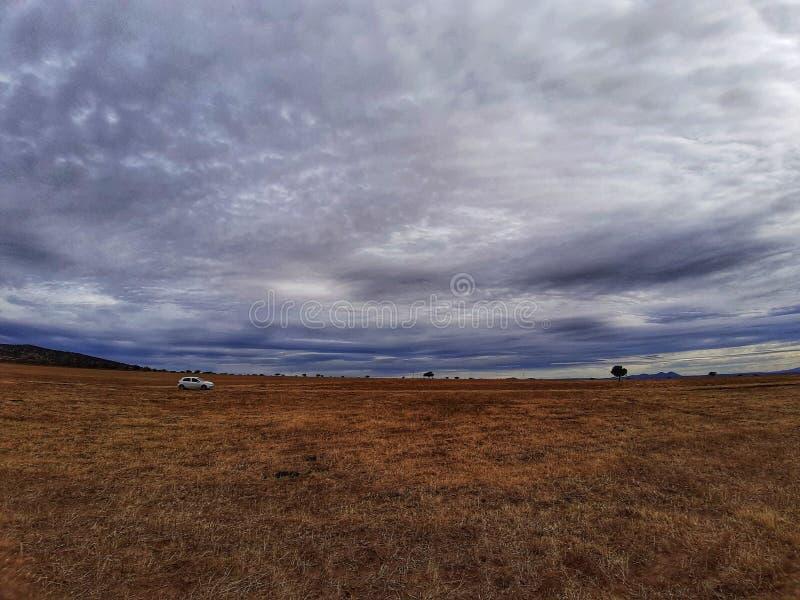 Bewolkte hemel op een gebied royalty-vrije stock afbeeldingen