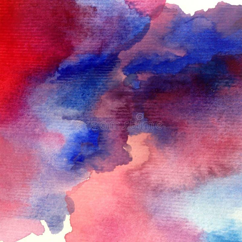 Bewolkte hemel van het van de achtergrond waterverfkunst de abstracte natte was kleurrijke geweven onweer stock illustratie