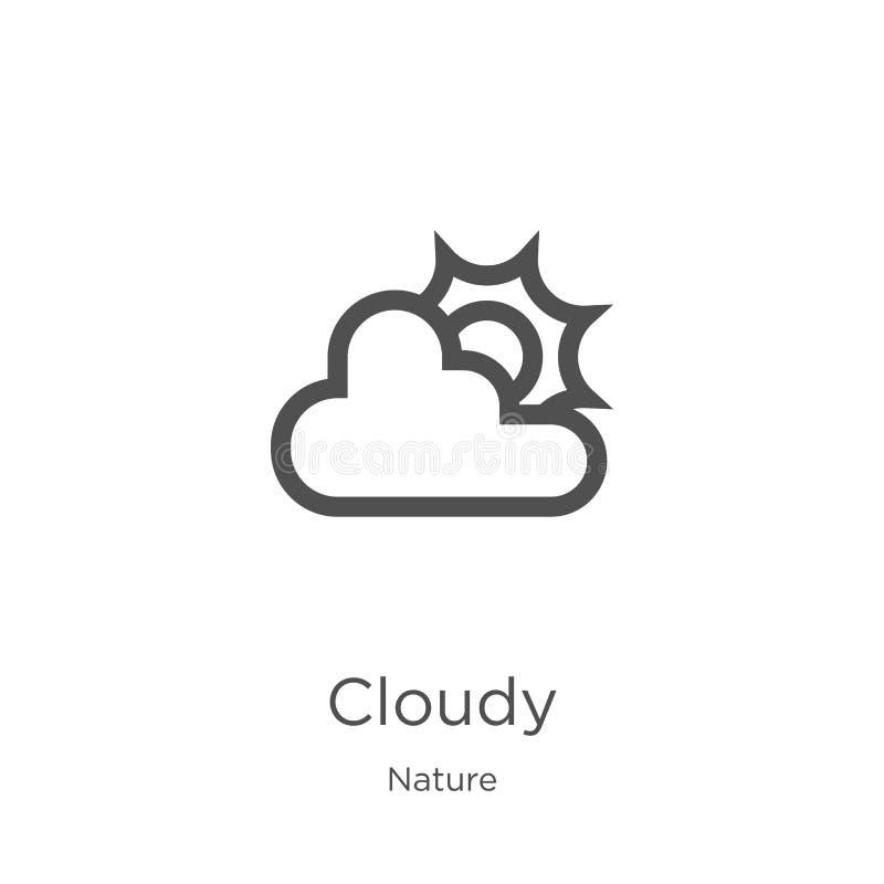 bewolkte pictogramvector van aardinzameling Dunne het pictogram vectorillustratie van het lijn bewolkte overzicht Overzicht, dun  stock illustratie