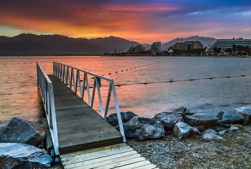 Bewore dawn at central beach of Eilat stock images