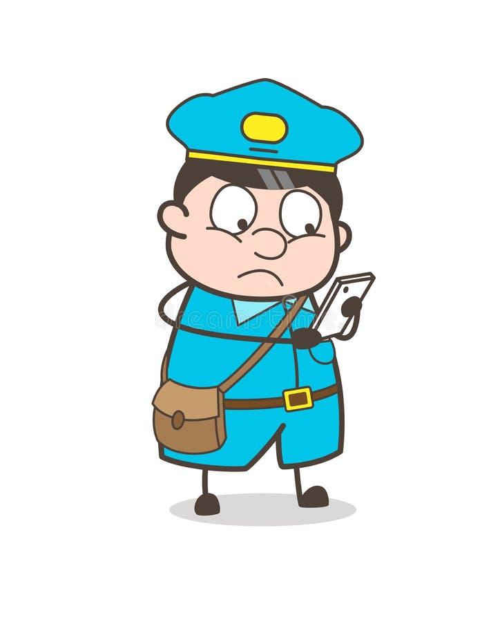 Bewusste Briefträger-Lesemitteilungen lizenzfreie abbildung