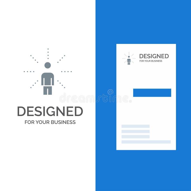Bewusstsein, Gefühl, Mensch, Vorstellung, Richtung Grey Logo Design und Visitenkarte-Schablone lizenzfreie abbildung