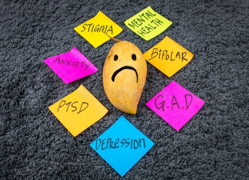 Bewusstseins-Post-Ittraurige Mango der psychischen Gesundheit lizenzfreies stockbild