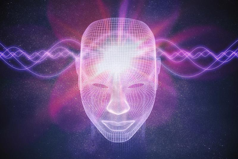 Bewustzijn, metafysica of kunstmatige intelligentieconcept De golven gaan door menselijk hoofd 3D teruggegeven illustratie royalty-vrije illustratie