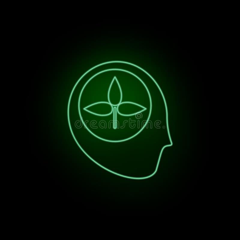 Bewustzijn, pictogram, het leren, biologie, neon r Kan infographic gebruik zijn en stock illustratie