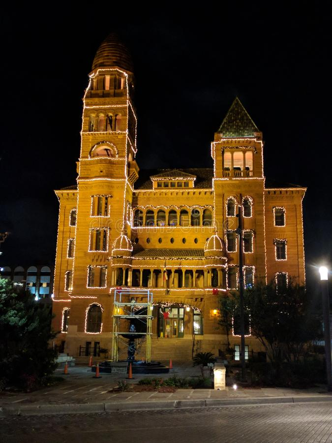 Bexar okręgu administracyjnego sąd rejonowy, sąd okręgowy przy nocą obrazy royalty free