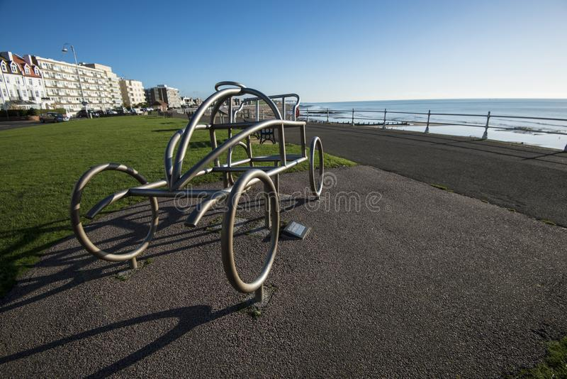 The metal sculpture of an early car commemorates the world`s first motor race at Bexhill-on-Sea in East Sussex, England. Bexhill is the original location for the stock images