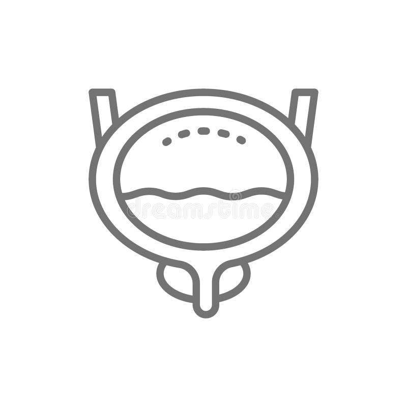 Bexiga, órgão humano, linha ícone da urologia ilustração royalty free