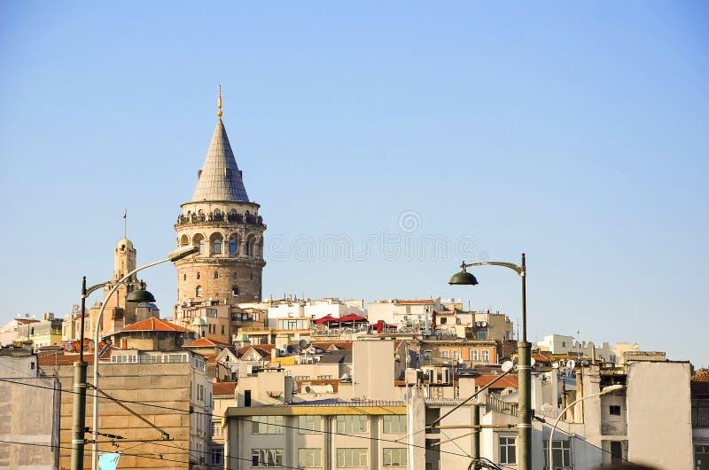 Beyoglu区历史的建筑学和加拉塔塔 免版税库存图片