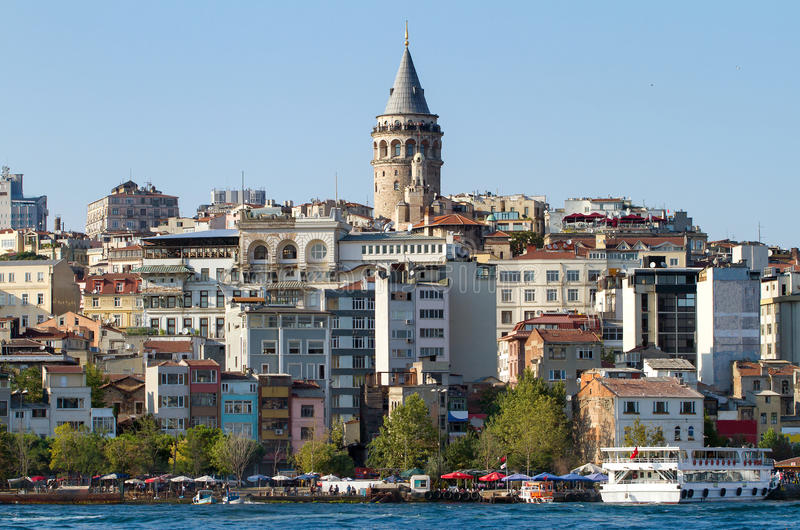 Beyoglu区历史的建筑学 图库摄影