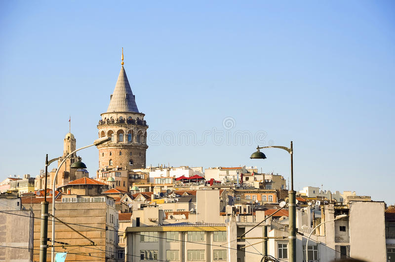 Beyoglu district historic architecture and Galata tower. Beyoglu district historic architecture and Galata tower medieval landmark in Istanbul, Turkey royalty free stock image