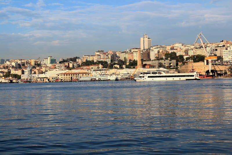 Beyoglu, Istanbul & Golden Horn. Golden Horn Sea Ship and Beyoglu District, Tepebasi, Kasimpasa stock photo