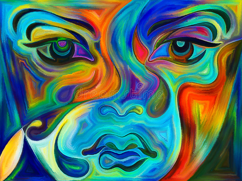 Beyond Blue Girl. Colors of Your Mood series. Background design of girl's face and painted textures on the subject of art, creativity and spirituality vector illustration