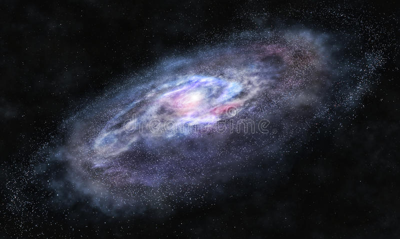 Beyond the galaxy. A picture of massive galaxy with bright spiral arms stock photos