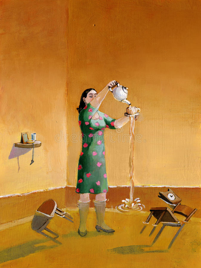 Beyond the limits. A woman pours the tea up to enlarge the house royalty free illustration