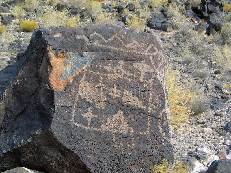 Petroglyph National Monument in New Mexico. Beyond the Rio Grande, Albuquerque is bordered on the west side by a low, barren, volcanic plateau West Mesa - 200 stock photo